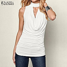 ZANZEA Women Sleeveless Tank Tops Casual Solid Turtleneck Stretchy Off Shoulder Camis Choker Deep V Camisole Tee Oversized (Off White)
