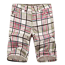Men's Casual Lattice Knee-Length Cotton Shorts Summer Breathable Shorts Pants