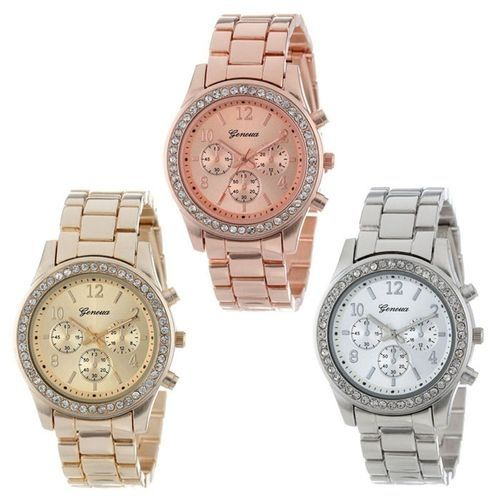 AI 3 PACK Geneva Silver Gold And Rose Gold Plated Classic Round Ladies Watch