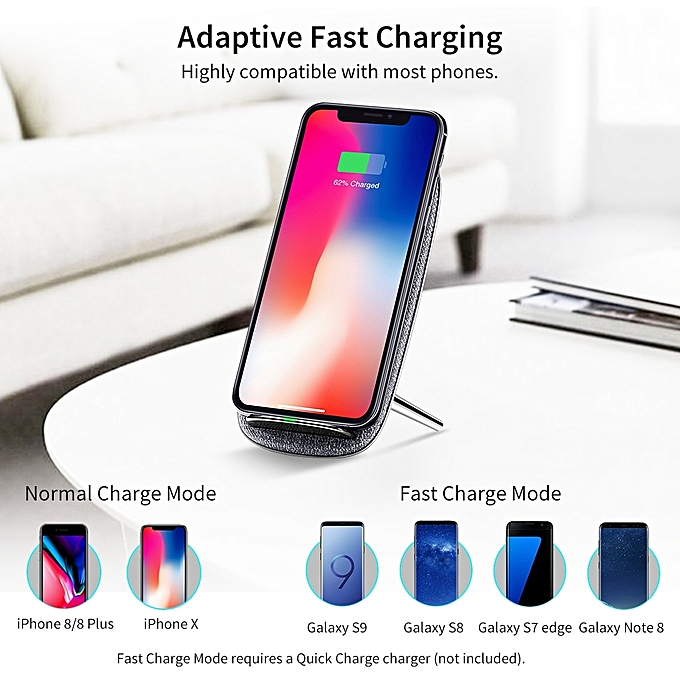 ESR 10W Max Fast Charge Qi Standard Lounge Wireless Charger For iPhone,  Galaxy, Huawei, Xiaomi, LG, HTC and Other QI Standard Smart Phones