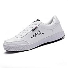 Mens Smart Lace-Up Casual Shoes Sneakers-White