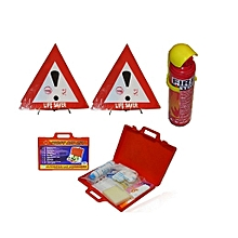 Warning Triangles Sign Life Saver Pair Reflector,Fire Extinguisher & First Aid Kit Road Safety Emergency & Compliance Kit Set  - Multicolored