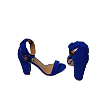 Blue Open Toe Suede Ankle Strap Heels Shoes
