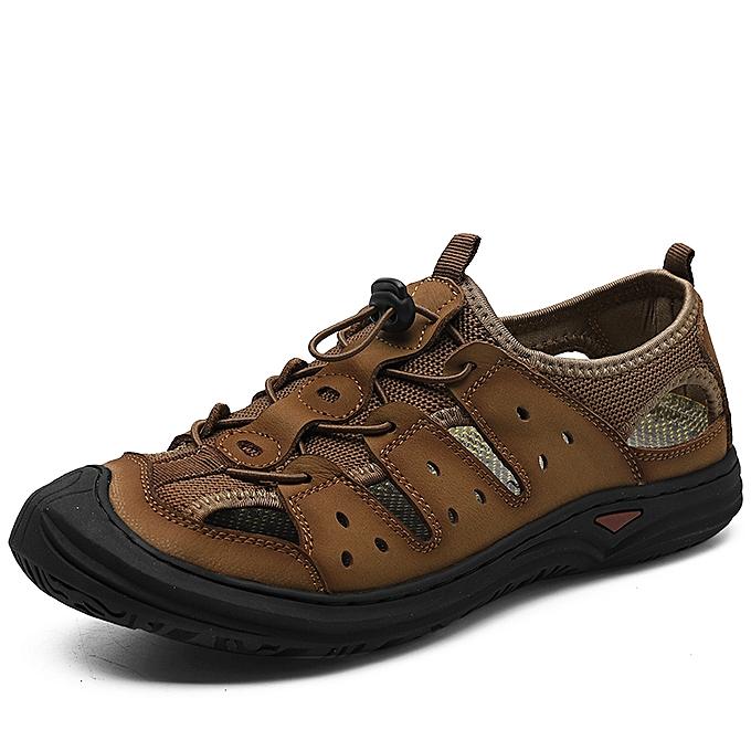 2a9739e08ea5 SocNoDn Men Fashion Summer Casual Beach Sandals Hollow Shoes Khaki ...