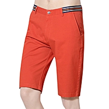 Summer Cotton Leisure Knee-length Shorts Breathable Pure Color Outdoor Cargo Pants for Men