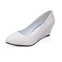 Round Toe Flock Wedges Pumps Fashion Med Heels Shallow Formal Career Shoes For Lady (White)