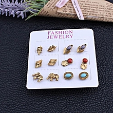 6 Pairs/set Bohemian Turquoise Crystal Stud Antique Silver Lucky Elephant Stud Earrings Set Women Jewelry