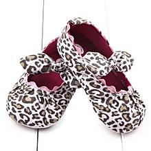 bluerdream-Toddler Kids Baby Girls Leopard Elastic Band Bowknot Newborn Shoes BG 11- Beige