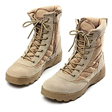 Mens Lace Up Strappy Military Combat Boots Round Toe Winter Hiking Shoes Sports Outdoors Shoes