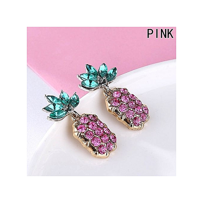 New Fashion Women Cute Pineapple Earrings Gold Pink Hawaiian Fruits Lightweight Full Drill Earrings Ear Studs