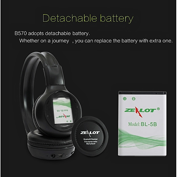 B570 Wireless Headphones+fm Radio Bluetooth Headsets+LCD Screen Foldable  Earphone with microphone Support TF card,AUX(plus Extra battery) WOW