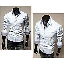 Turn-Down Collar Cotton Long Sleeve Mens Shirts-lightblue