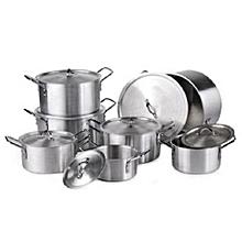 14-Piece Stainless Aluminium Cookware Pot Sufuria Set .