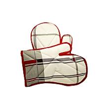 2Pc - Oven Glove - Red & White
