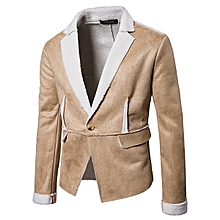 Mens Thick Warm Winter Lapel Collar Fit Solid Color Suede Jacket
