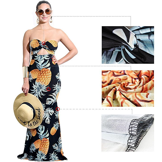 8052aefcce ... Women Tube Top Long Dress Pineapple Print Twist Front Cut Out High  Waist Casual Evening Party