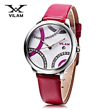 Women Quartz Watch + Date Display + Leather Band-ROSE MADDER
