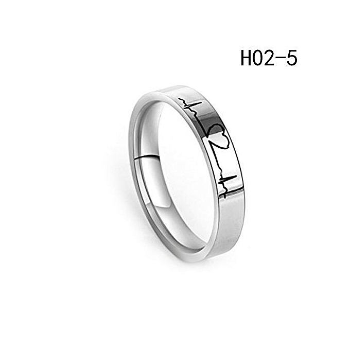 ceed223c1c Tanson Lovers Heartbeat ECG Ring Couple Rings Titanium Steel Ring Engagement  Wedding Ring His And Her