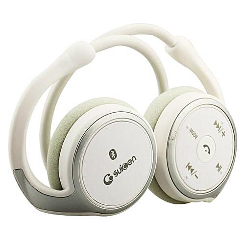 Suicen AX-698 Wireless On-Ear Earphones (White)