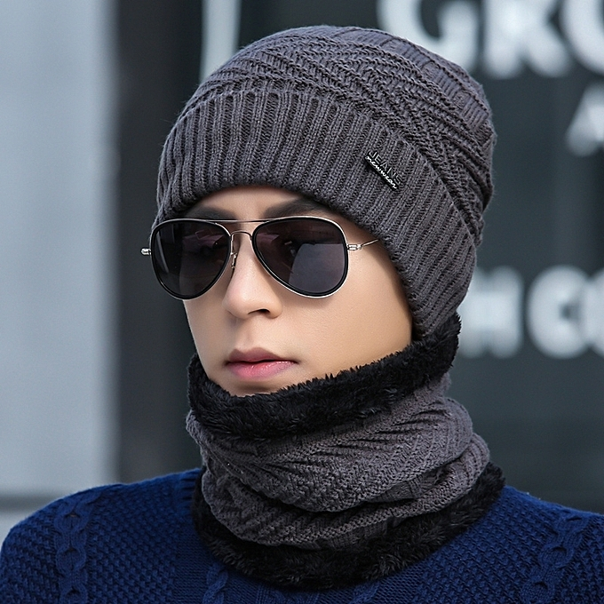 7e4ebe0ad 1Gray hat+round Bo two setsHat man winter knitting wool the hat thicken Han  Ban Chao knit fabric set the head hat add Rong to keep warm the hat youth  ...