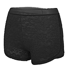 Sexy Lace Embroidered Perspective Underwear Breathable Mid Waist Boyshorts