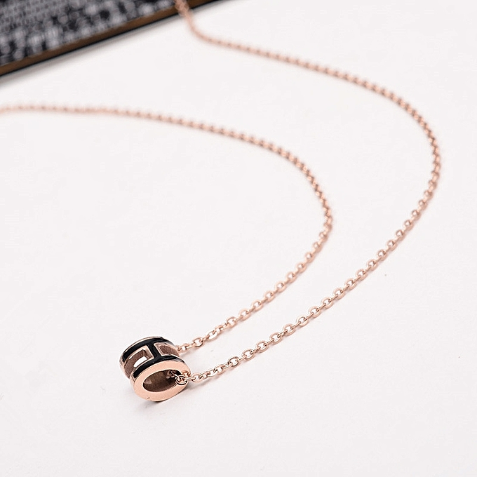 9ad1c08aee16 Han Ban fine mini style of H letter of alphabet necklace female style rose  gold titanium
