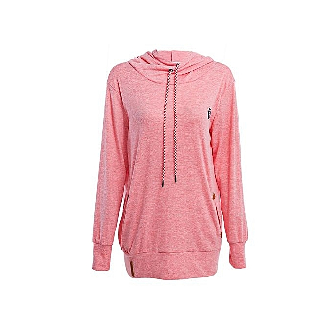 34dccce9f Chic Hooded Long Sleeve Pocket Design Embroidered Hoodie For Women - PINK