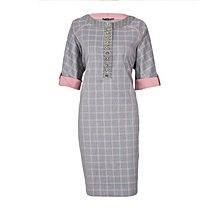 Grey Checked Dress With Short Turn Up Sleeves