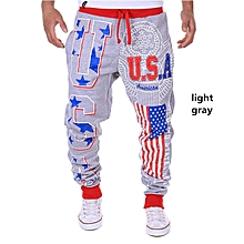 USA Flag and Letters Printing Men's Sports Pants