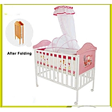 Superior NEW Foldable Baby Cot with Single High Pole Mosquito Net and a 4 Inches Thick Mattress Baby Travel Cot Pink for Girls