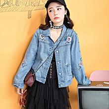 Women Loose Embroidered Denim Jacket - Blue