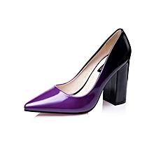 Purple Chunky Heel Dress Shoes