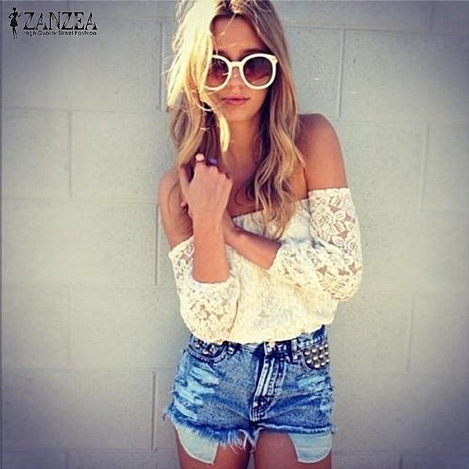 6793a4943e3 Zanzea Crochet Lace Women Blouse Summer Off Shoulder 3/4 Sleeve Sexy Tops  Shirts Floral