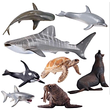 Ocean World Sea Life Animals Turtle Shark Dolphin Fish Figures 8 Pack Kids Toys