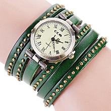 guoaivo CCQ Brand Vintage Leather Bracelet Watch Men Women Wristwatch Quartz  -Green