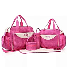 Pink With White Polka Dots 5 In 1 Diaper Bag