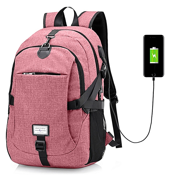Generic Men Canvas Casual Travel Backpack with USB Charge Port-PINK ... 93aef6bca25a9