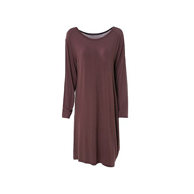 eb8ae6aa4b96 Fashion Solid Color Skew Neck Long Sleeve Loose Dress - Deep Brown ...