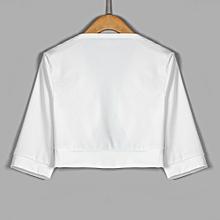 Xiuxingzi Women Short Half Sleeve Solid Mini Office Work Cardigan Plus Coat WH/M