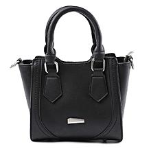Guapabien Pipe Handle Handbag PU Leather Face Shoulder Cross-body Tote Bag for Women