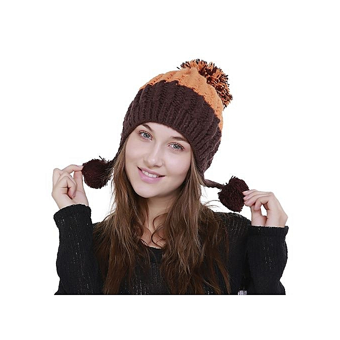 933ecd177bb3e Wenrenmok Store Women s Knit Wool Color Block Warm Beanie Winter Hat Ski  Crochet Cap Pom Pom
