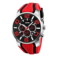 9128 Luxury Brand Quartz Silicone Watches Men Fashion Casual Wristwatches Waterproof Sport Watch - Red