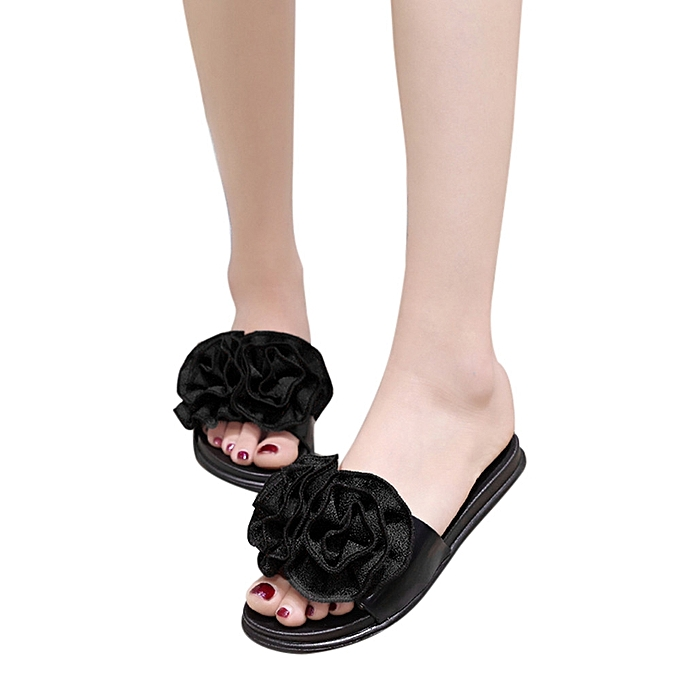 63b07b125 Blicool Shop Women Sandals Women Fashion Solid Color Flower Flat Heel  Sandals Slipper Beach Shoes Black ...