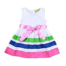 Cute Girl Kids Children Summer Stripe Red Flower Princess Party Dress 90