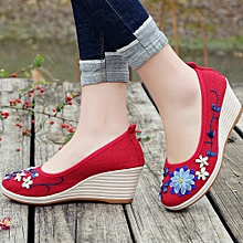 Generic Women's Shoes Of National Style And Flax With Embroidered Rib Bottom Casual A1