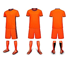 Customized Youth Children Boy's Football Soccer Team Sports Jersey Set-Orange(6200)