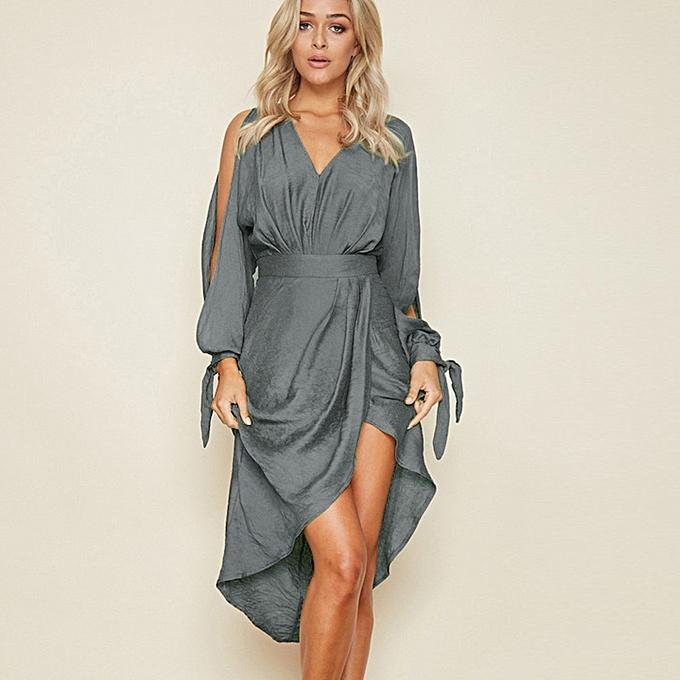 dfa3a3f2a02f jiuhap store Women Summer Boho Long Maxi Dress Evening Party Beach Dresses  Sundress-Green