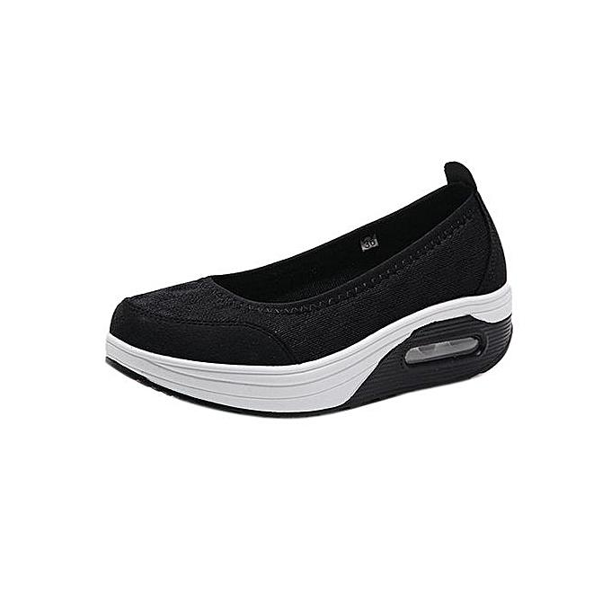 6dcd307a4822 Hiaojbk Store Fashion Women Platform Shoes Breathable Mesh Shake Shoes Slip  Sport Sneakers -Black