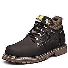 Spring Autumn Men Outdoor Hiking Mountain Climbing Shoes Leather Men Trekking Shoes Waterproof Wearable - Black
