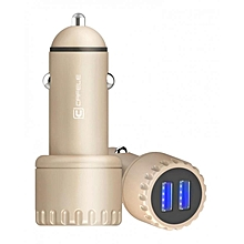 Car Charger Dual USB Luminous 5V 3.4A Quick Charging - Golden